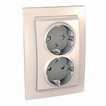 Complete double Socket-outlet, SCHUKO®, Ivory