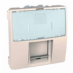 RJ45, cat.5e, UTP, 2 modules, with label holder and protective flap, Ivory