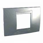 Italian Cover Frame Unica Allegro, Dull silver, 2 modules
