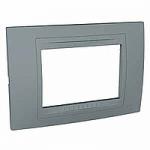 Italian Cover Frame Unica Allegro, Technical grey, 3 modules