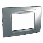 Italian Cover Frame Unica Allegro, Dull silver, 3 modules