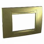 Italian Cover Frame Unica Allegro, Golden, 3 modules