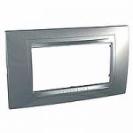 Italian Cover Frame Unica Allegro, Dull silver, 4 modules