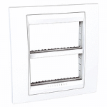 Cover & Fixing Frame Unica Plus IT, White, 2 x 4 modules