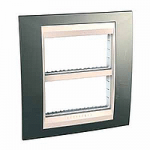 Cover & Fixing Frame Unica Plus IT, Champagne/Ivory, 2 x 4 modules