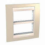 Cover & Fixing Frame Unica Plus IT, Sand yellow/Ivory, 2 x 4 modules