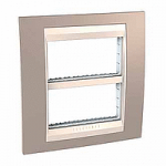 Cover & Fixing Frame Unica Plus IT, Mink/Ivory, 2 x 4 modules