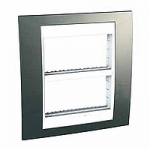 Cover & Fixing Frame Unica Plus IT, Champagne/White, 2 x 4 modules