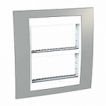Cover & Fixing Frame Unica Plus IT, Mist grey/White, 2 x 4 modules