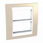 Cover & Fixing Frame Unica Plus IT, Sand yellow/White, 2 x 4 modules