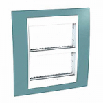 Cover & Fixing Frame Unica Plus IT, Maganese blue/White, 2 x 4 modules