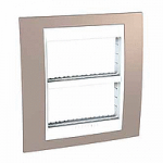 Cover & Fixing Frame Unica Plus IT, Mink/White, 2 x 4 modules