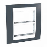 Cover & Fixing Frame Unica Plus IT, Slate grey/White, 2 x 4 modules