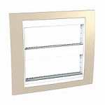 Cover & Fixing Frame Unica Plus IT, Sand yellow/White, 2 x 6 modules
