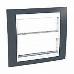 Cover & Fixing Frame Unica Plus IT, Slate grey/White, 2 x 6 modules