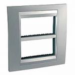 Cover & Fixing Frame Unica Top IT, Glossy chrome/Aluminium, 2 x 4 modules