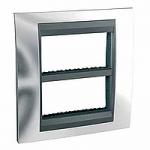 Cover & Fixing Frame Unica Top IT, Bright chrome/Aluminium, 2 x 4 modules