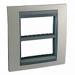 Cover & Fixing Frame Unica Top IT, Matt nickel/Aluminium, 2 x 4 modules