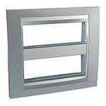 Cover & Fixing Frame Unica Top IT, Glossy chrome/Aluminium, 2 x 6 modules