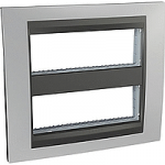Cover & Fixing Frame Unica Top IT, Glossy chrome/Graphite, 2 x 6 modules