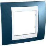 Cover Frame Unica Plus, Glacier blue/White, 1 gang