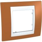 Cover Frame Unica Plus, Orange/White, 1 gang