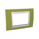 Italian Cover Frame Unica Plus IT, Pistachio/Ivory, 3 modules