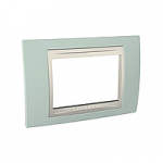 Italian Cover Frame Unica Plus IT, Water green/Ivory, 3 modules