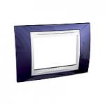 Italian Cover Frame Unica Plus IT, Indigo blue/White, 3 modules