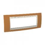 Italian Cover Frame Unica Plus IT, Orange/Ivory, 6 modules
