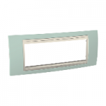 Italian Cover Frame Unica Plus IT, Water green/Ivory, 6 modules