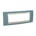 Italian Cover Frame Unica Plus IT, Maganese blue/Ivory, 6 modules