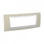 Italian Cover Frame Unica Plus IT, Sand yellow/White, 6 modules