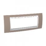 Italian Cover Frame Unica Plus IT, Mink/White, 6 modules
