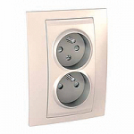 Complete Socket-outlet CZ, double, 2P+E, with shutters, Ivory