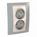 Complete Socket-outlet CZ, double, 2P+E, Ivory/Mist grey