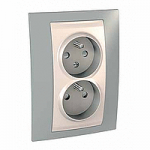 Complete Socket-outlet CZ, double, 2P+E, with shutters, Ivory/Mist grey