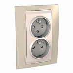 Complete Socket-outlet CZ, double, 2P+E, with shutters, Ivory/Sand