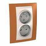 Complete Socket-outlet CZ, double, 2P+E, Ivory/Orange