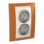 Complete Socket-outlet CZ, double, 2P+E, with shutters, Ivory/Orange