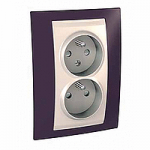 Complete Socket-outlet CZ, double, 2P+E, with shutters, Ivory/Garnet
