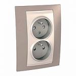Complete Socket-outlet CZ, double, 2P+E, Ivory/Mink