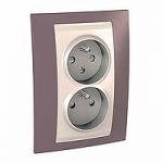 Complete Socket-outlet CZ, double, 2P+E, Ivory/Mauve