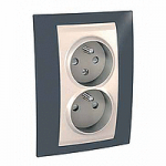 Complete Socket-outlet CZ, double, 2P+E, with shutters, Ivory/Slate grey