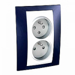 Complete Socket-outlet CZ, double, 2P+E, with shutters, White/Indigo blue