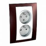 Complete Socket-outlet CZ, double, 2P+E, White/Terracotta