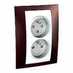 Complete Socket-outlet CZ, double, 2P+E, with shutters, White/Terracotta