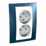 Complete Socket-outlet CZ, double, 2P+E, White/Glacier blue