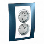 Complete Socket-outlet CZ, double, 2P+E, with shutters, White/Glacier blue