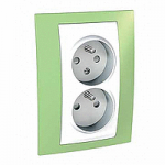 Complete Socket-outlet CZ, double, 2P+E, with shutters, White/Apple green